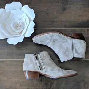 Sam Edelman Petty Ankle Bootie in Tan Putty Suede